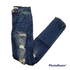 KanCan destroyed medium wash high rise skinny jeans w27